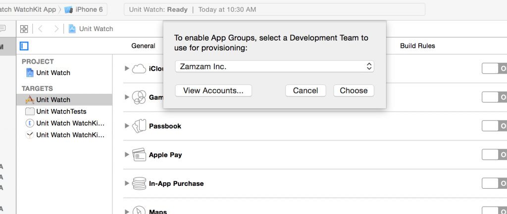 Xcode App Groups Account